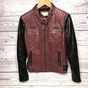Micheal Kors Burgundy Black Leather Moto Jacket